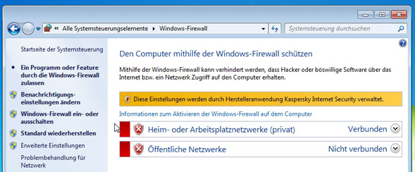 Status der Windows Firewall prüfen